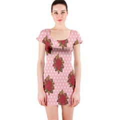 Pink Polka Dot Background With Red Roses Short Sleeve Bodycon Dress