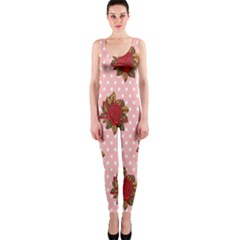 Pink Polka Dot Background With Red Roses OnePiece Catsuit