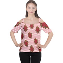 Pink Polka Dot Background With Red Roses Women s Cutout Shoulder Tee