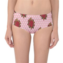 Pink Polka Dot Background With Red Roses Mid Waist Bikini Bottoms