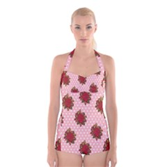 Pink Polka Dot Background With Red Roses Boyleg Halter Swimsuit