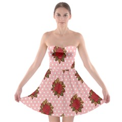 Pink Polka Dot Background With Red Roses Strapless Bra Top Dress