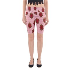 Pink Polka Dot Background With Red Roses Yoga Cropped Leggings