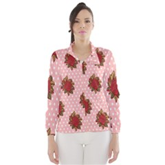 Pink Polka Dot Background With Red Roses Wind Breaker (Women)