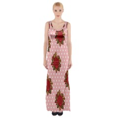 Pink Polka Dot Background With Red Roses Maxi Thigh Split Dress