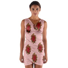 Pink Polka Dot Background With Red Roses Wrap Front Bodycon Dress