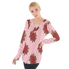 Pink Polka Dot Background With Red Roses Women s Tie Up Tee