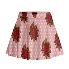 Pink Polka Dot Background With Red Roses Mini Flare Skirt