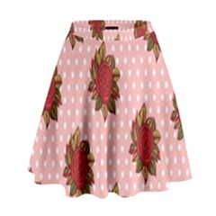 Pink Polka Dot Background With Red Roses High Waist Skirt