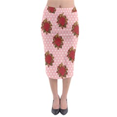 Pink Polka Dot Background With Red Roses Midi Pencil Skirt