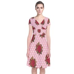 Pink Polka Dot Background With Red Roses Short Sleeve Front Wrap Dress