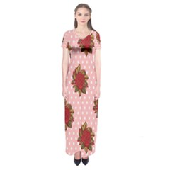 Pink Polka Dot Background With Red Roses Short Sleeve Maxi Dress