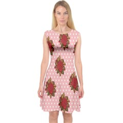 Pink Polka Dot Background With Red Roses Capsleeve Midi Dress