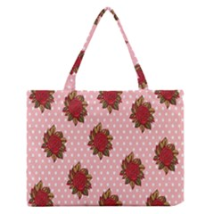 Pink Polka Dot Background With Red Roses Medium Zipper Tote Bag