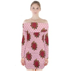 Pink Polka Dot Background With Red Roses Long Sleeve Off Shoulder Dress