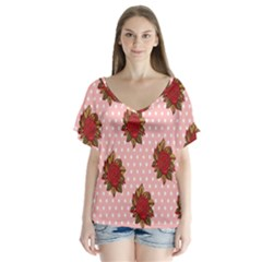 Pink Polka Dot Background With Red Roses Flutter Sleeve Top