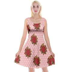Pink Polka Dot Background With Red Roses Reversible Velvet Sleeveless Dress