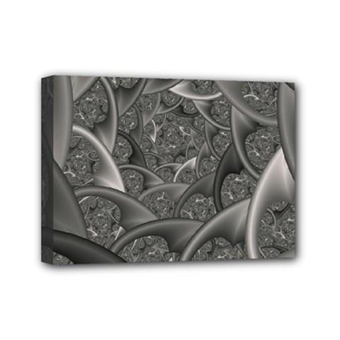 Fractal Black Ribbon Spirals Mini Canvas 7  x 5