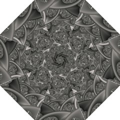 Fractal Black Ribbon Spirals Folding Umbrellas
