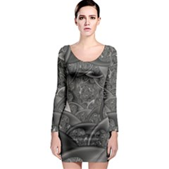 Fractal Black Ribbon Spirals Long Sleeve Bodycon Dress