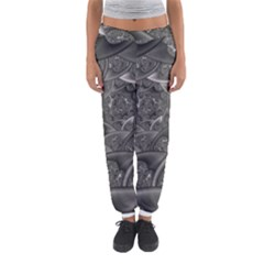 Fractal Black Ribbon Spirals Women s Jogger Sweatpants