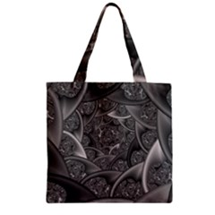 Fractal Black Ribbon Spirals Zipper Grocery Tote Bag