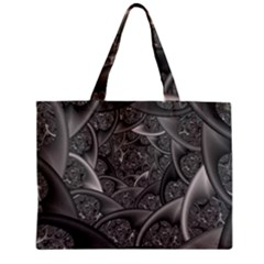 Fractal Black Ribbon Spirals Zipper Mini Tote Bag