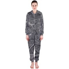 Fractal Black Ribbon Spirals Hooded Jumpsuit (Ladies)