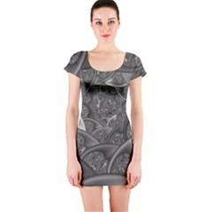 Fractal Black Ribbon Spirals Short Sleeve Bodycon Dress