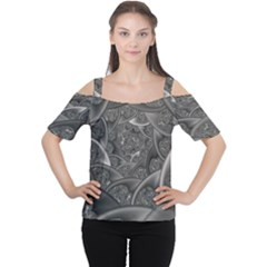 Fractal Black Ribbon Spirals Women s Cutout Shoulder Tee