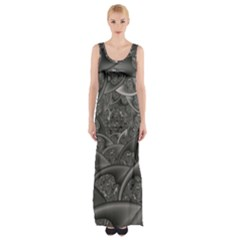 Fractal Black Ribbon Spirals Maxi Thigh Split Dress