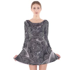 Fractal Black Ribbon Spirals Long Sleeve Velvet Skater Dress