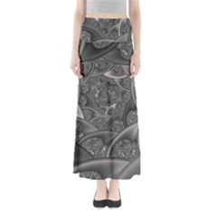 Fractal Black Ribbon Spirals Maxi Skirts