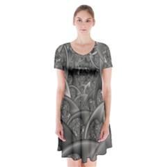 Fractal Black Ribbon Spirals Short Sleeve V-neck Flare Dress