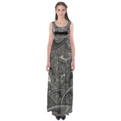 Fractal Black Ribbon Spirals Empire Waist Maxi Dress