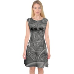 Fractal Black Ribbon Spirals Capsleeve Midi Dress