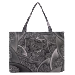 Fractal Black Ribbon Spirals Medium Zipper Tote Bag