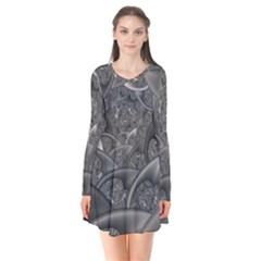 Fractal Black Ribbon Spirals Flare Dress
