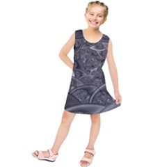 Fractal Black Ribbon Spirals Kids  Tunic Dress