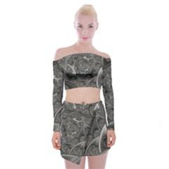 Fractal Black Ribbon Spirals Off Shoulder Top With Skirt Set