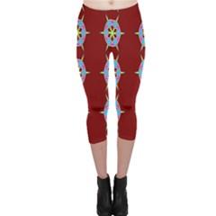 Geometric Seamless Pattern Digital Computer Graphic Capri Leggings