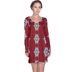 Geometric Seamless Pattern Digital Computer Graphic Long Sleeve Nightdress