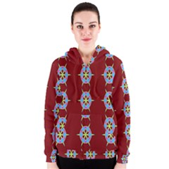 Geometric Seamless Pattern Digital Computer Graphic Women s Zipper Hoodie