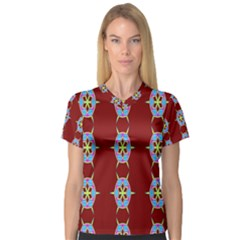 Geometric Seamless Pattern Digital Computer Graphic Women s V-Neck Sport Mesh Tee