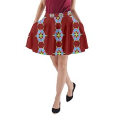 Geometric Seamless Pattern Digital Computer Graphic A-Line Pocket Skirt