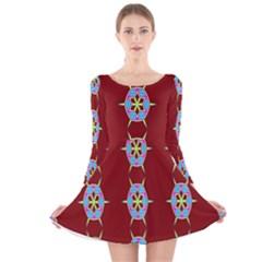 Geometric Seamless Pattern Digital Computer Graphic Long Sleeve Velvet Skater Dress