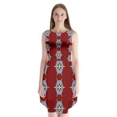 Geometric Seamless Pattern Digital Computer Graphic Sleeveless Chiffon Dress