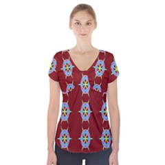 Geometric Seamless Pattern Digital Computer Graphic Short Sleeve Front Detail Top