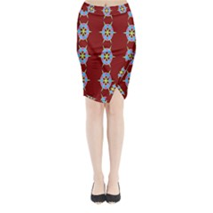 Geometric Seamless Pattern Digital Computer Graphic Midi Wrap Pencil Skirt