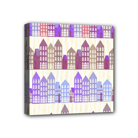 Houses City Pattern Mini Canvas 4  X 4